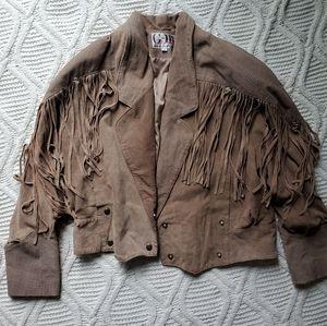 Vintage Tan Leather Fringe Jacket